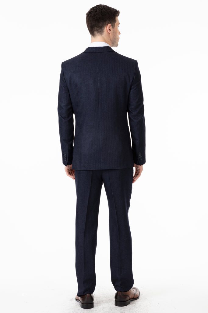 JOHN - Navy Tweed Herringbone Blazer with Patch Pockets - Jack Martin Menswear