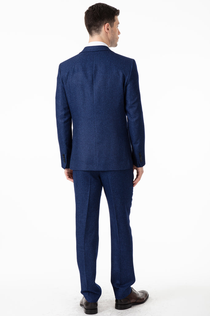 JOHN - Blue Tweed Herringbone Blazer with Patch Pockets - Jack Martin Menswear