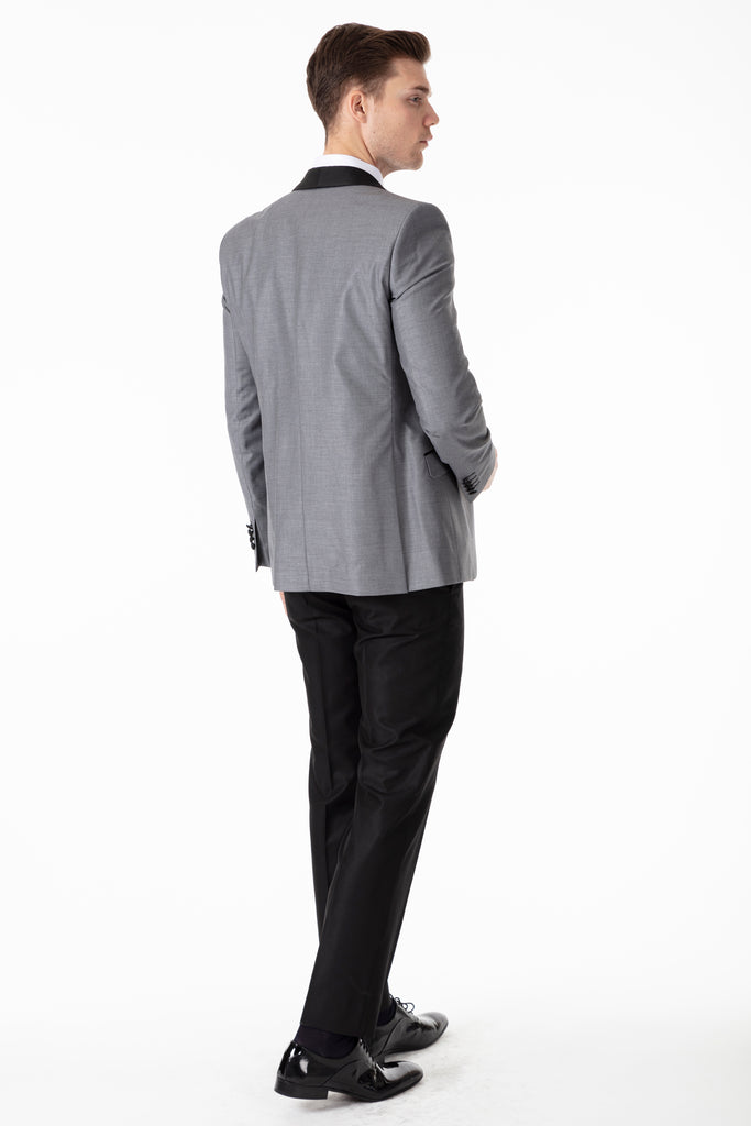 Grey 3 Piece Suit / Tuxedo with Black Shawl Collar - Jack Martin Menswear