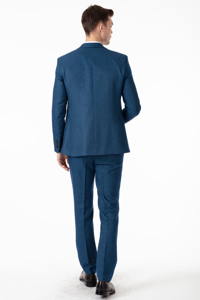JOHN - Teal Blue Tweed Herringbone 3 Piece Suit with Patch Pockets - Jack Martin Menswear