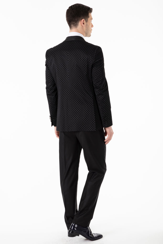 Black Diamond Printed Velvet Dinner / Tuxedo Jacket - Jack Martin Menswear