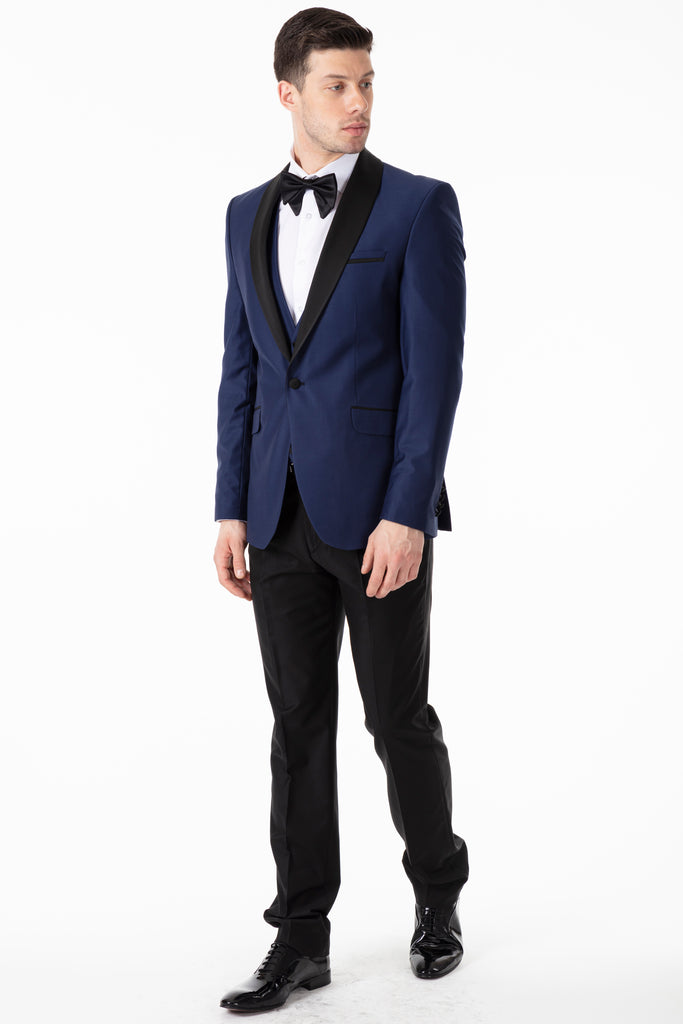 Midnight Blue Plain Dinner / Tuxedo Jacket with Shawl Lapel - Jack Martin Menswear