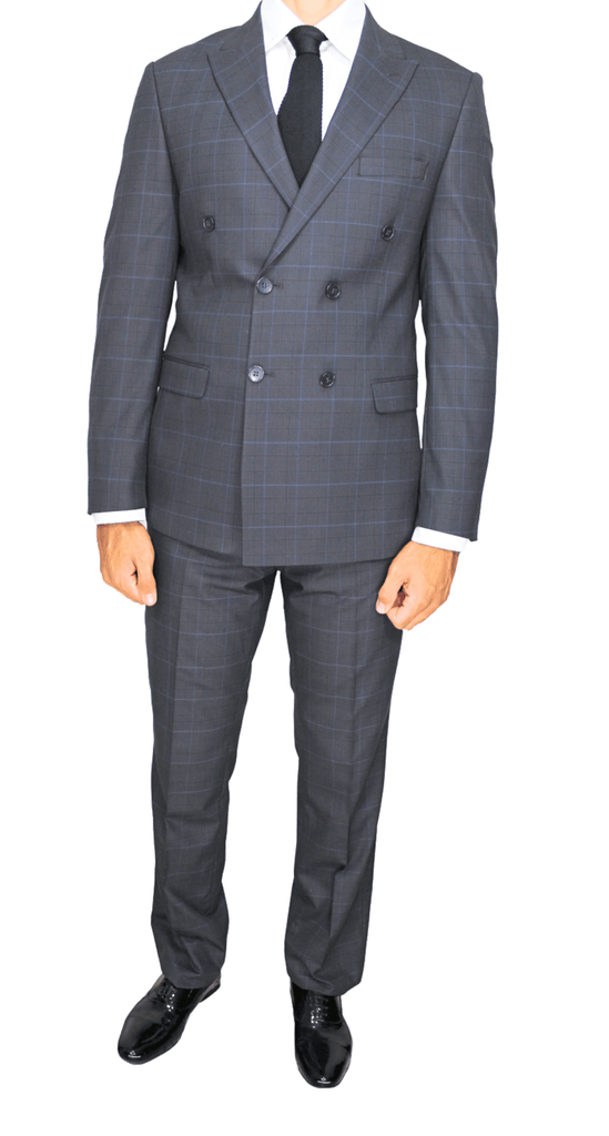 Ash Grey Check Double Breasted Semi Slim Fit Suit - Jack Martin Menswear