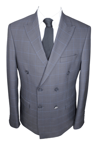 Ash Grey Check Double Breasted Semi Slim Fit Suit