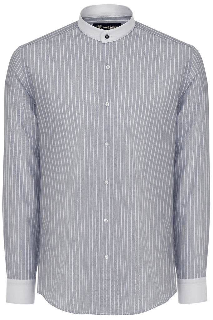 ALFIE - Peaky Blinders Style - Black Oxford Stripe Grandad Collar Shirt