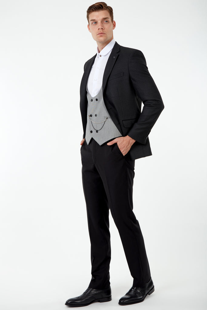 JACKIE - Ash Black Birdseye Blazer with Suede Pocket Trims
