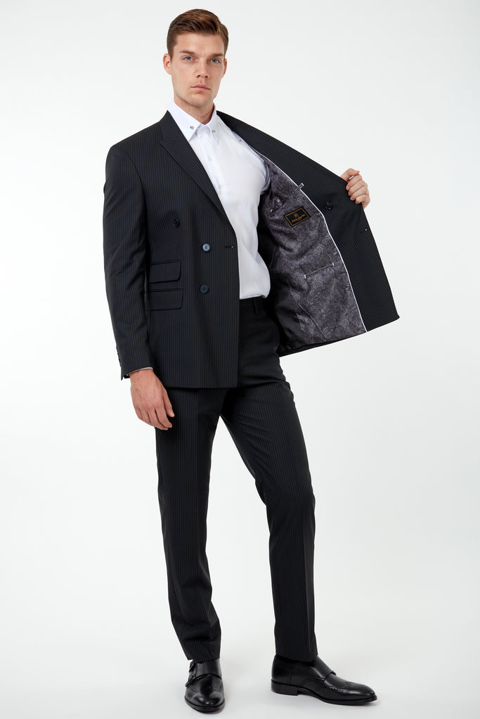 EDWARD - Black Pinstripe Tailored Fit Double Breasted Suit