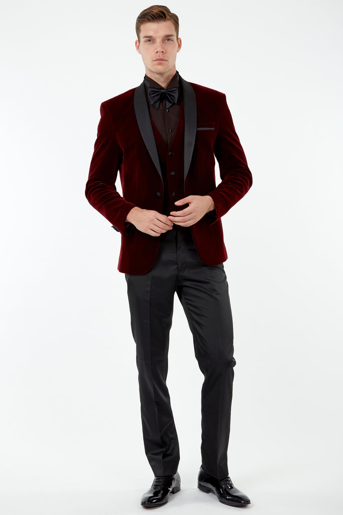 GABRIEL - Wine Burgundy Velvet Dinner / Tuxedo Jacket