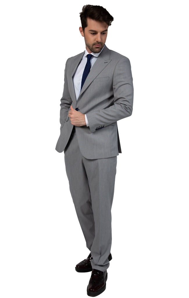 Grey & Blue Textured Semi-Slim Fit Suit with Smart Peak Lapel (PERCY) - Jack Martin Menswear
