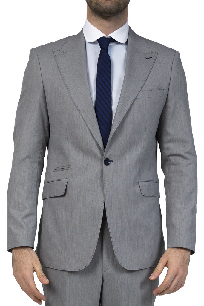 Grey & Blue Textured 3 Piece Semi-Slim Fit Suit (PERCY)
