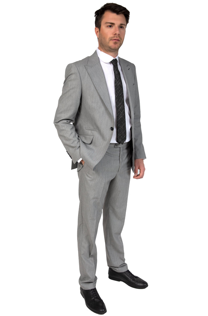 Grey & Black Textured Semi-Slim Fit Suit with Peak Lapel (PERCY) - Jack Martin Menswear