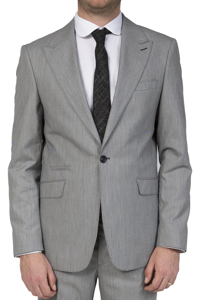 Grey & Black Textured Semi Slim Fit Suit Jacket / Blazer with Peak Lapel (PERCY) - Jack Martin Menswear
