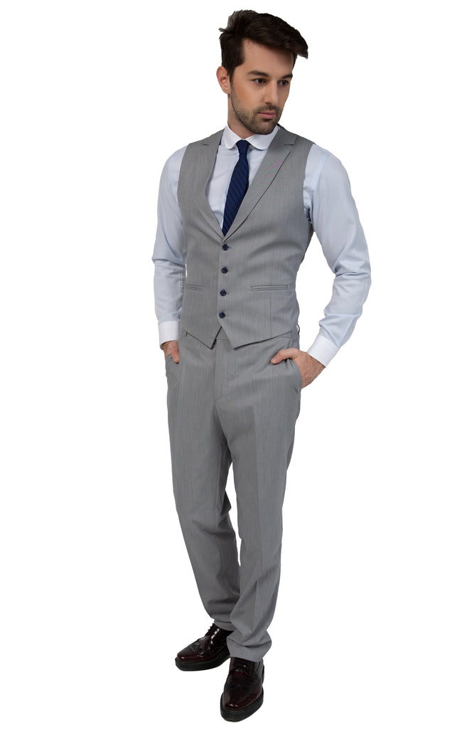 Grey & Blue Textured Collared Suit Waistcoat (PERCY)