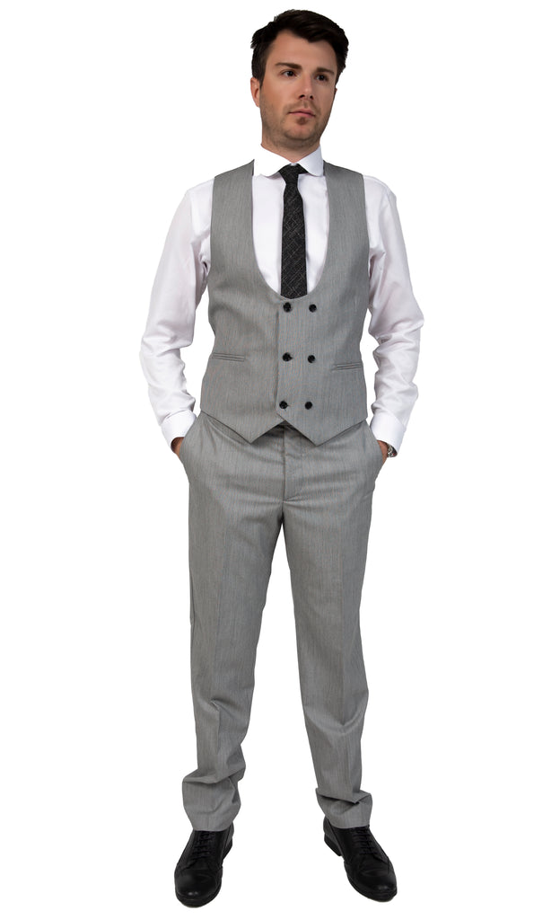 Grey & Black Textured Double Breasted Suit Waistcoat (PERCY) - Jack Martin Menswear