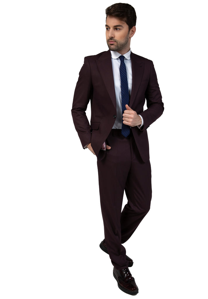 Burgundy Semi Plain Suit Jacket / Blazer with Peak Lapel (PERCY) - Jack Martin Menswear