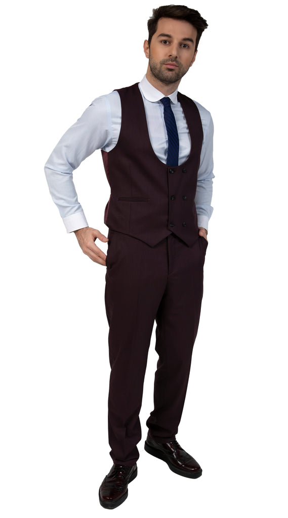Burgundy Semi Plain Slim Fit Suit Trousers (PERCY)