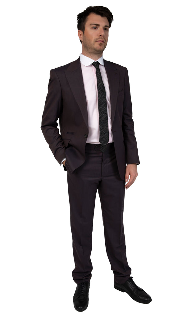 Bronze Brown Semi Plain Suit with Peak Lapel (PERCY) - Jack Martin Menswear