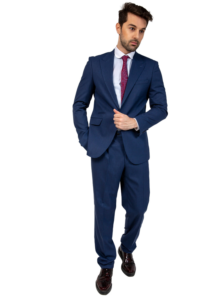 Blue Semi Plain Suit Jacket / Blazer with Peak Lapel (PERCY) - Jack Martin Menswear