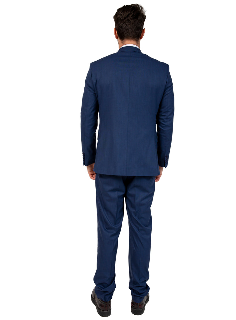 Blue Semi Plain Suit Jacket / Blazer with Peak Lapel (PERCY)