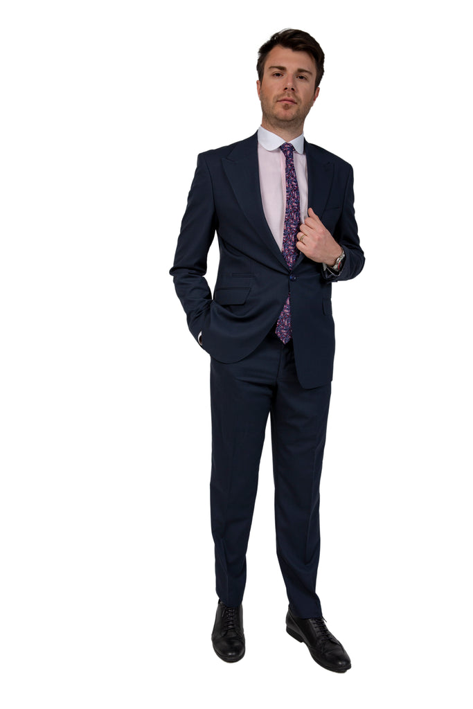 Navy Semi Plain Suit with Peak Lapel (PERCY)