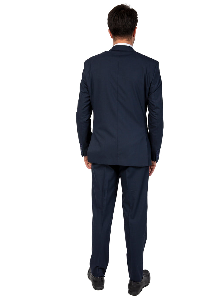 Navy Semi Plain Suit with Peak Lapel (PERCY) - Jack Martin Menswear