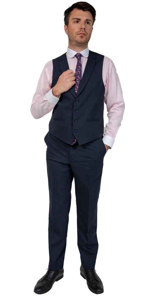 Navy Semi Plain Slim Fit Suit Trousers (PERCY) - Jack Martin Menswear