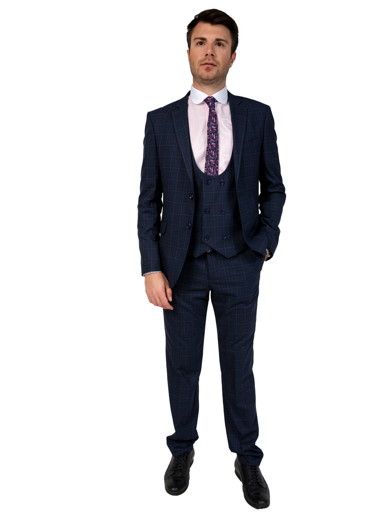 Navy Glen Check 3 Piece Semi-Slim Fit Suit - Jack Martin Menswear