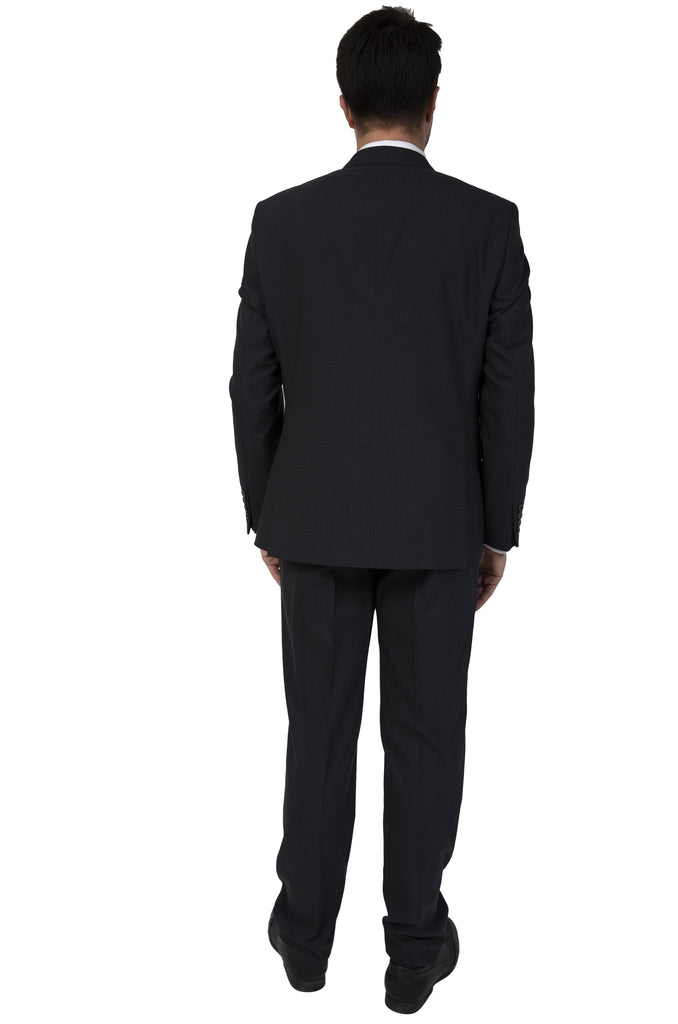 Ash Black Dobby Double Breasted Semi Slim Fit Suit - Jack Martin Menswear