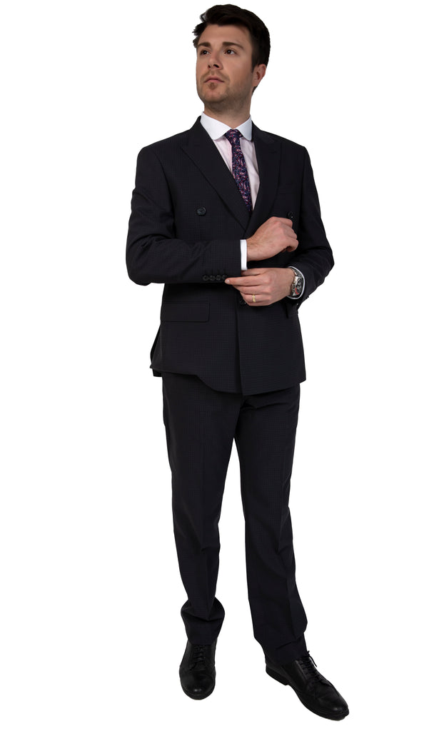Ash Black Dobby Double Breasted Semi Slim Fit Suit