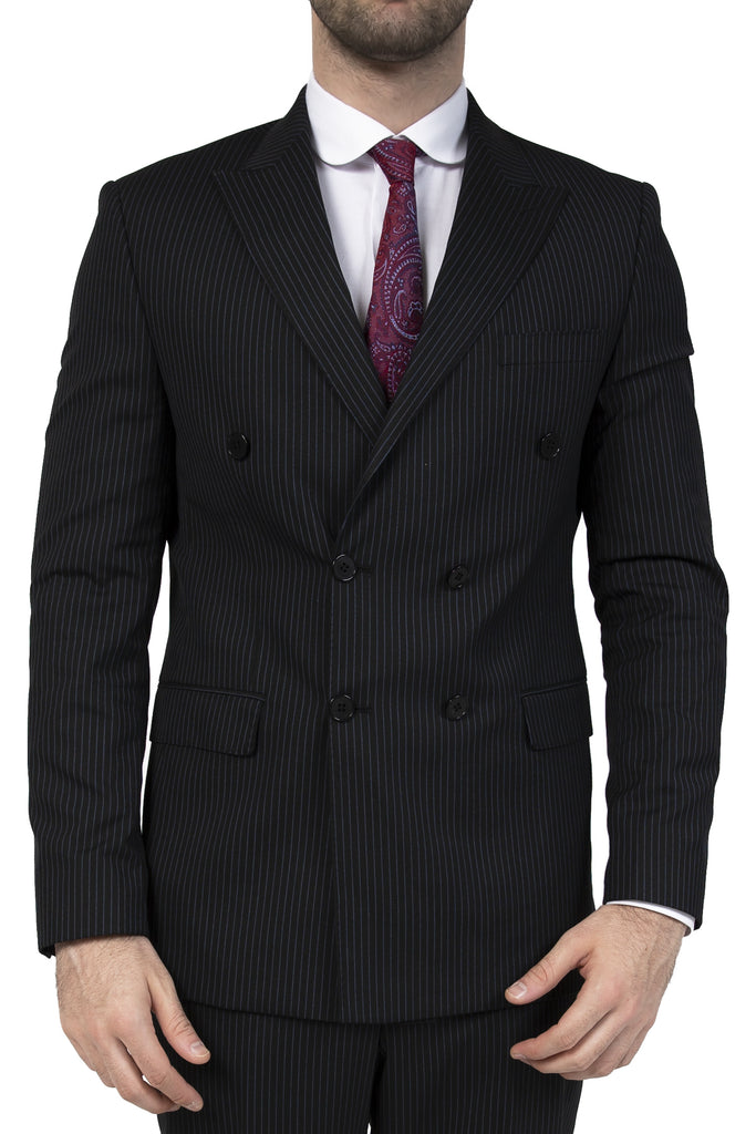 Black Pinstripe Double Breasted Semi Slim Fit Suit - Jack Martin Menswear