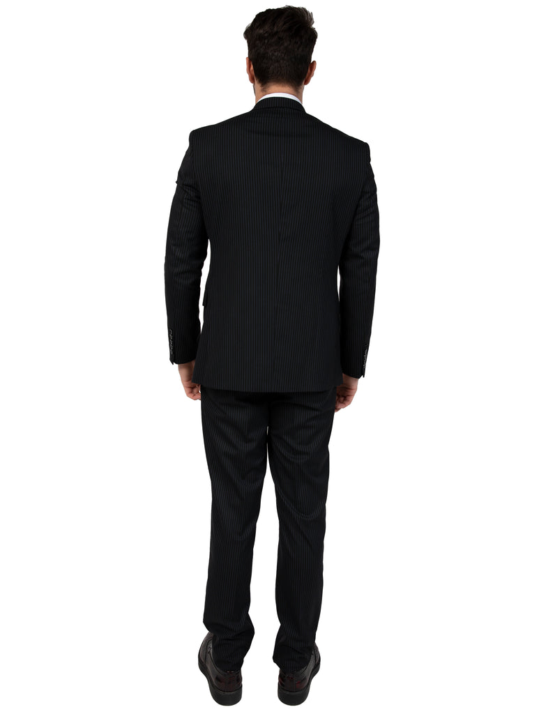 Black Pinstripe Double Breasted Semi Slim Fit Suit