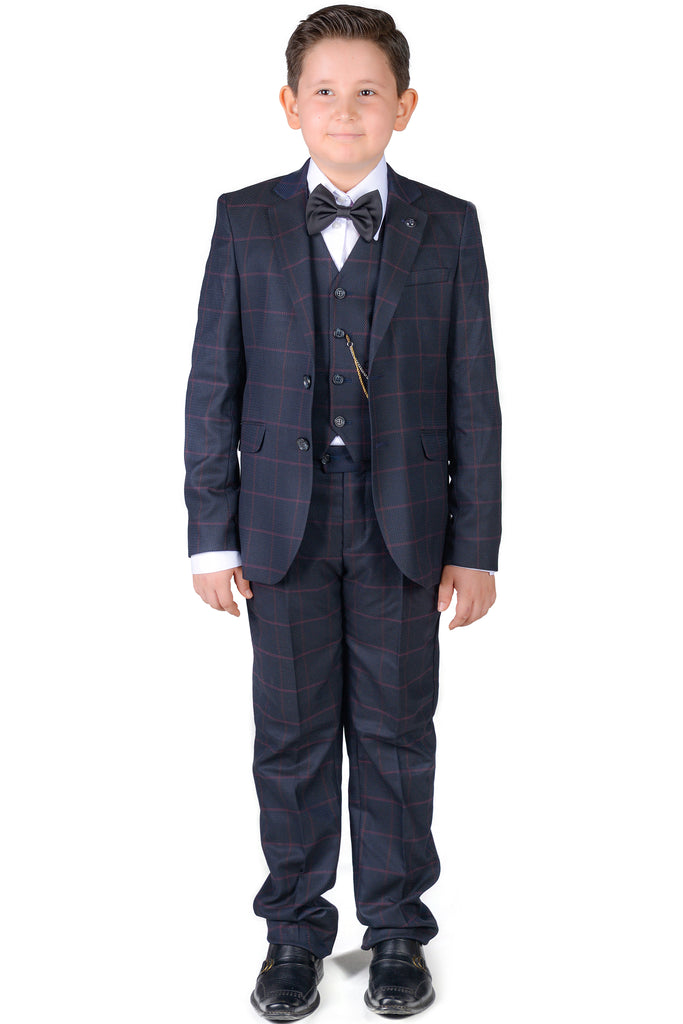 ARTHUR - Navy Check Boy's 3 Piece Suit - Jack Martin Menswear
