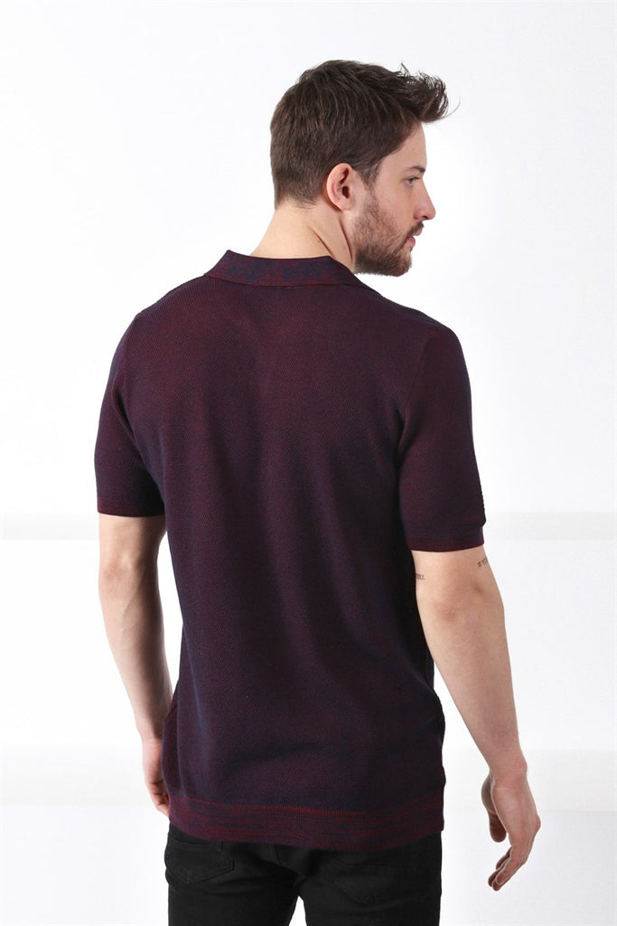 FELIX - Burgundy & Navy Birdseye Knitted Polo Shirt