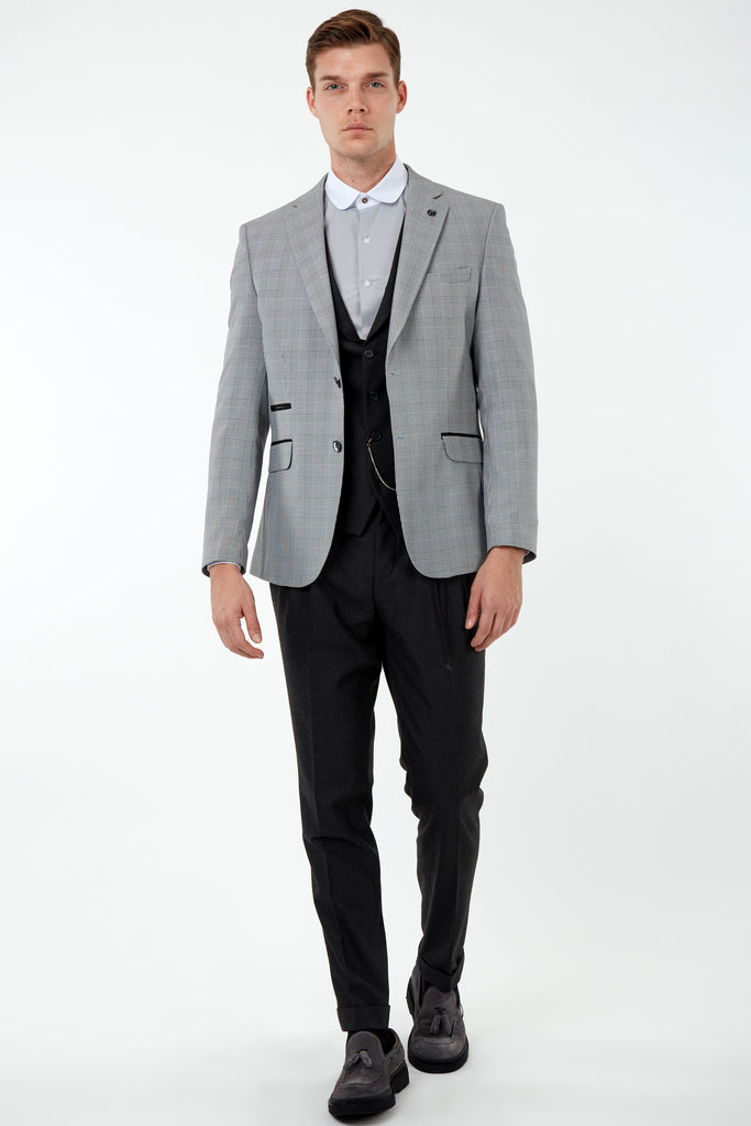 GLEN - Prince of Wales Check 3 Piece Mix & Match with Flannel Trousers & Waistcoat