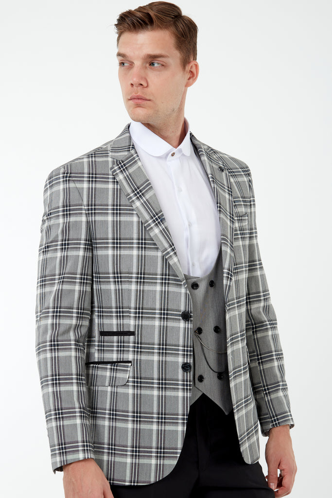 VIBRANT - Black & Grey Bold Check 3 Piece Mix & Match Suit