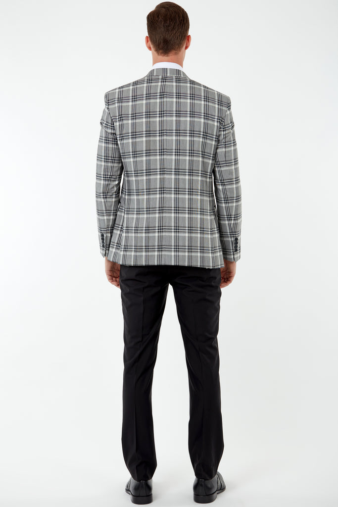 VIBRANT - Black & Grey Bold Check Blazer with Suede Pocket Trims