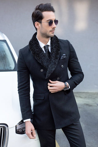Black Wool Overcoat with Faux Fur
