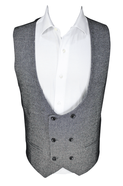 Black Double Breasted Tweed Waistcoat