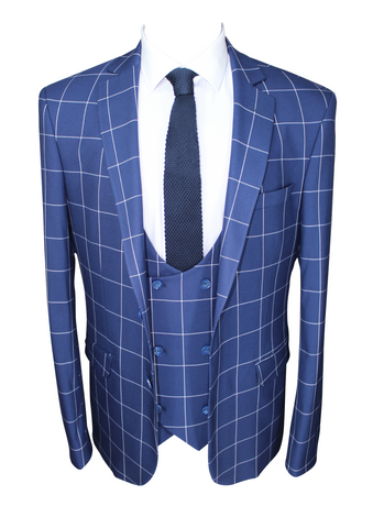 Blue Chalk Check 3 Piece Semi-Slim Fit Suit