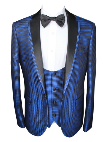 Blue Diamond Jacquard 3 Piece Suit with Satin Lapel