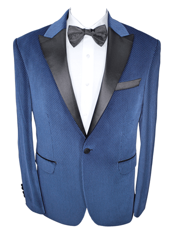 Blue Patterned Velvet Suit with Satin Lapel