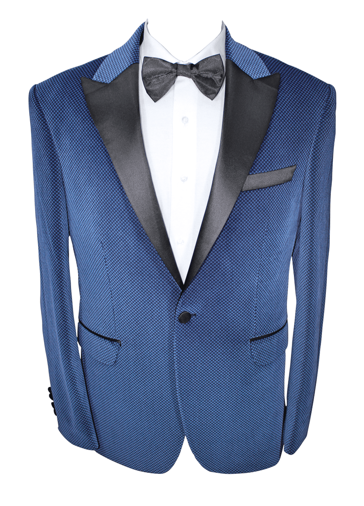 Blue Patterned Velvet Blazer with Satin Lapel