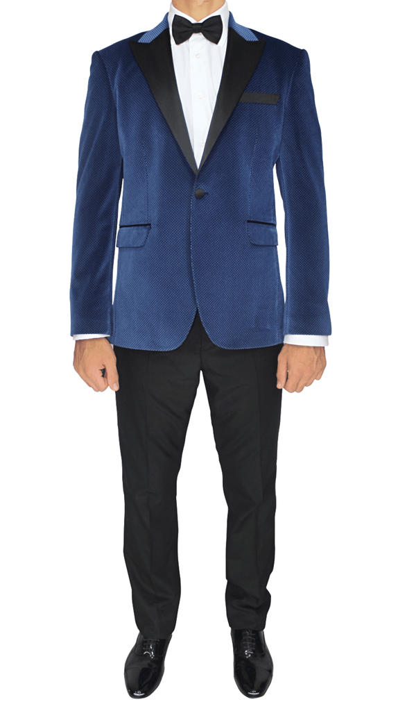 Blue Patterned Velvet Blazer with Satin Lapel - Jack Martin Menswear