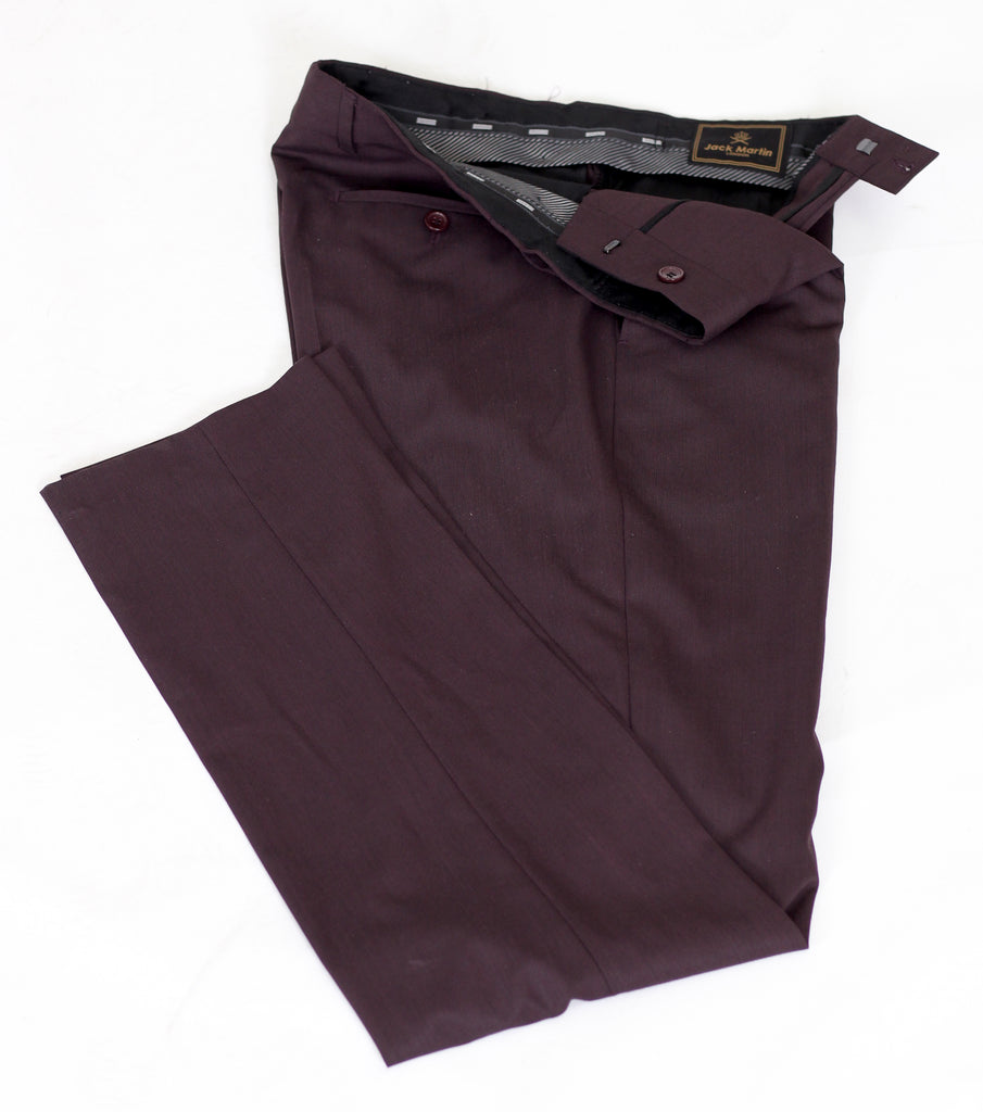 Burgundy Semi Plain Slim Fit Suit Trousers (PERCY) - Jack Martin Menswear