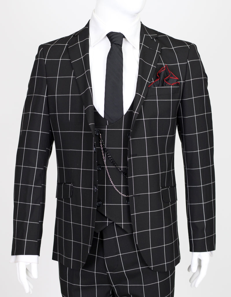 Black Chalk Check 3 Piece Semi-Slim Fit Suit