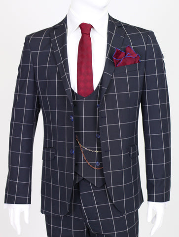 Navy Chalk Check 3 Piece Semi-Slim Fit Suit