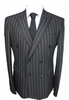 Black Chalk Stripe Double Breasted Blazer