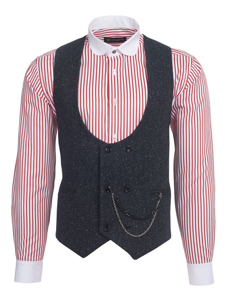 Ash Black Speckled Tweed Double Breasted Waistcoat