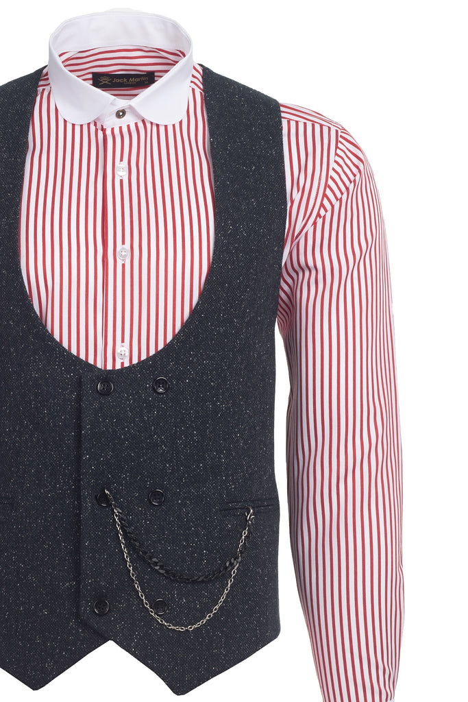 Ash Black Speckled Tweed Double Breasted Waistcoat - Jack Martin Menswear