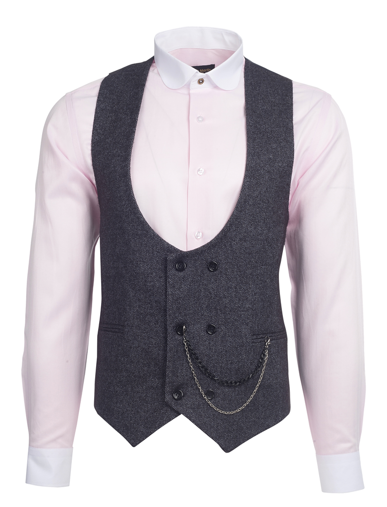 Black & Multi Colour Birdseye Tweed Double Breasted Waistcoat - Jack Martin Menswear